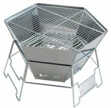 Captain Stag Outdoor Camp Stove Hexa Stainless Steel Fire Grill BBQ Japan