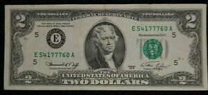 1976 $2 Federal Reserve Note shift TRIPLE ERROR note circulated.