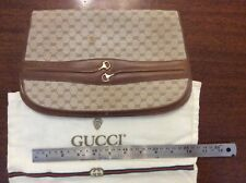 Vintage GUCCI handbag clutch monogram cloth and leather some marks see photos