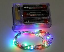 Micro 20 LED RGB RICE Battery Powered Fairy Craft Lights 2M : ON OFF Flash Mode