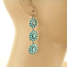 Pretty Cowgirl Western Turquoise Epoxy Stack Concho Dangle Silver Hook Earrings