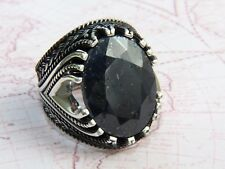 925 Sterling Silver Natural Sapphire Gemstone Ottoman Men Ring AAA Quality