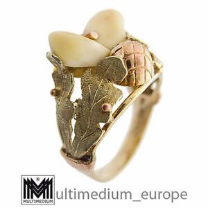 14ct 585er Gold Ring Grandel Hirsch zahn Charivari brooch deer teeth 14k Tracht