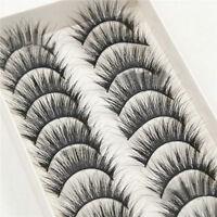 10 Pairs Box Long Natural Makeup Black Handmade Thick Fake False Eyelashes New