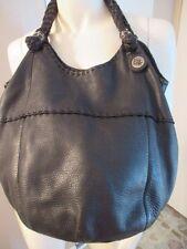 THE SAK Black Pebbled Soft Leather Hobo Tote Bucket Bag Purse