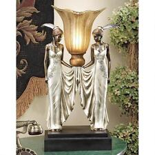 "Art Deco Peacock Maidens Design Toscano Hand Painted 20"" Tabletop Torchiere"