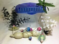 Plastic Mini Aquarium Fishbowl Tank for Fish Newt's Turtles Betta's + Decor