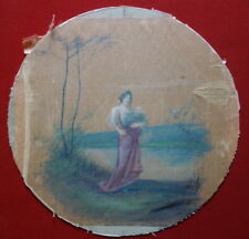Royalisme, Miniature, peinture sur soie ronde, XIXème siècle, portrait de femme