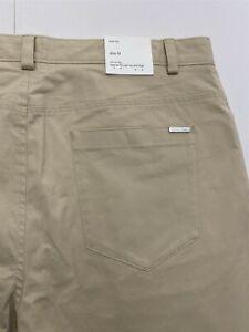 NWT Calvin Klein 36 x 32 Cream Slim Tapered Leg Performance Flex Chino Pants