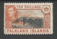 FALKLAND IS SG162 THE 1938  GVI 10/- BLACK & ORANGE BROWN FRESH MINT C £200