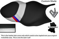 BLACK & WHITE CUSTOM M3 STRIPE FITS BMW K 1200 S K 1300 S DUAL SEAT COVER