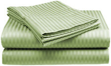 Queen Size Sage 400 Thread Count 100% Cotton Sateen Dobby Stripe Sheet Set