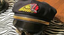 VINTAGE STYLE BIKER ROAD CAPTAIN'S HAT/CAP - INDIAN PATCH & GOLD STRAP !!
