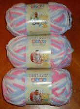 Bernat Baby Blanket Yarn Lot Of 3 Skeins (Pink/Blue #03305) 3.5 oz. Skeins