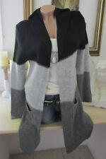 Italy Winter Cardigan Strickjacke Jacke Kapuze Blockstreifen Schwarz-Grau 36-40