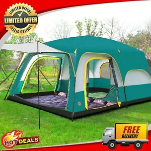 Ultralarge Camping Tent Dual Layer 8 Person Family Travel Hiking Waterproof Tent