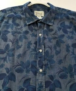 True Nation Men's Short Sleeve Button Up Shirt 1XL Blue Floral Leaves Casual