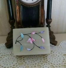 "Vintage genuine stone alabaster? lime trinket box mother of pearl floral 4x3"""