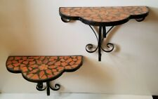 Vintage Pair Of Wrought Iron Terracotta Mexican Tiled Wall Sconce Shelves