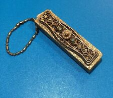 Vintage Gold Colored Jeweled Miniature Address book Blank Pages Fan Keychain