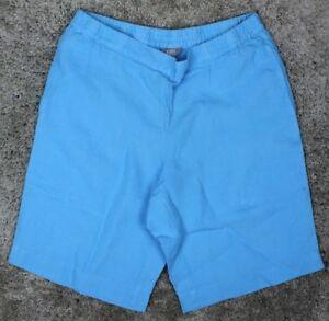 J Jill Linen Flat Front Pocket Shorts Aqua Blue