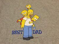 The Simpsons 2003 Best Dad Homer Bart Lisa Maggie Medium Gray T Shirt