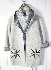 f&8 Pullover Cardigan Size 38 40 42 ❤ Hood Light Gray NEW
