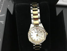 Bulova Womens Two Tone Gold Stainless Steel Mother-of-Pearl Diamond Watch 98R236