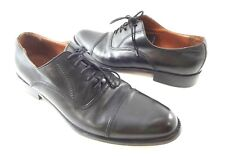 Bettaccini Mens 10.5 D Black Leather Oxford Cap-Toe Shoes Handmade in Italy