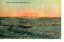 Sunrise on the Ocean-Waves-Scenic View-Wildwood-New Jersey-Vintage Postcard