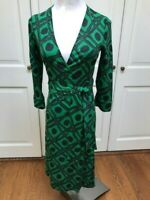 Diane von Furstenberg DVF Julian Black Green Silk Wrap Dress Size 4 Vintage