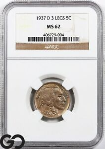 1937-D MS62 Buffalo Nickel NGC Mint State 62 ** 3-Legged, Key Date Mint ERROR!