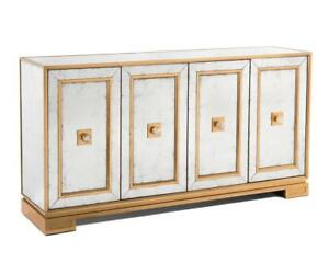"74"" W Cabinet Plinth Base Raised Frame Doors Crystal Pulls Gold Backplates"