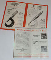 VINTAGE 1930s STARRETT MICROMETER ADVERTINING BROCHURE WITH PRICES! V-BLOCK TOO!