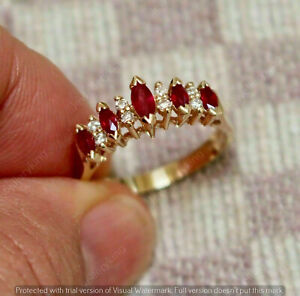 2Ct Marquise Cut Red Ruby Women's Wedding Band Ring 14K Yellow Gold Finish