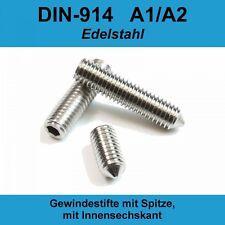 M10 DIN 914 A2 Gewindestifte Spitze Innensechskant Madenschrauben Edelstahl M10x