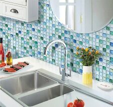 Home Bathroom Kitchen Wall Decor 3D Sticker Wallpaper Art Tile S Blue Backsplash