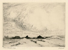 """ALBERT LOREY GROLL, """"RAIN CLOUDS, NEW MEXICO', signed etching, c. 1910."""