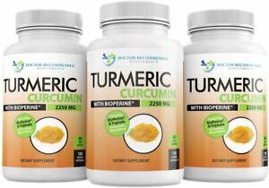 Turmeric Curcumin - 2250mg/d - 95% Curcuminoids - 540 Veggie Caps with Black...