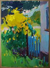 Russian Ukrainian Painting Impressionism  flowers sunny day summer gate