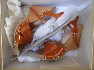 L.K.Bennett Buddha Wedge Sandals Patent Ginger UK 4 Boxed