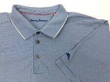 Tommy Bahama Mens 2XL Blue White Stripe Marlin Polo Shirt XXL (G3)