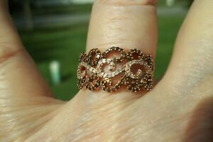 10K Rose Gold Cognac and White Diamond Band Ring.. Size 7