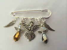 Silver Tone Kilt Pin Brooch GUARDIAN ANGEL swarvorski Element wings charms gift