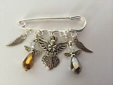 Silver Tone Kilt Pin Brooch Guardian Angel Swarvorski Element Wings Charms Gift