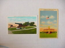 (2) Unused Linen Color Postcards WWII Era / US Military Cannons + FINE/Very Fine
