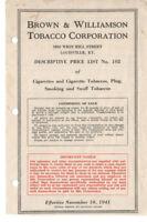 VTG 1941 BROWN & WILLIAMSON TOBACCO CORP PRICE LIST! CIGARETTES/PLUG/SNUFFKOOL!