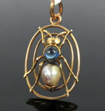 Victorian 0.62ct Blue Sapphire & White Pearl 18K Yellow Gold Insect Ant Pendant