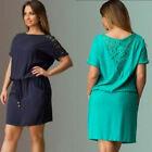 Plus Size Women Summer Short Sleeve Lace Casual Party Evening Short Mini Dress