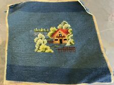 Vintage Wool Needlepoint For Pillow Chair Seat Cover Blue with Country Cottage